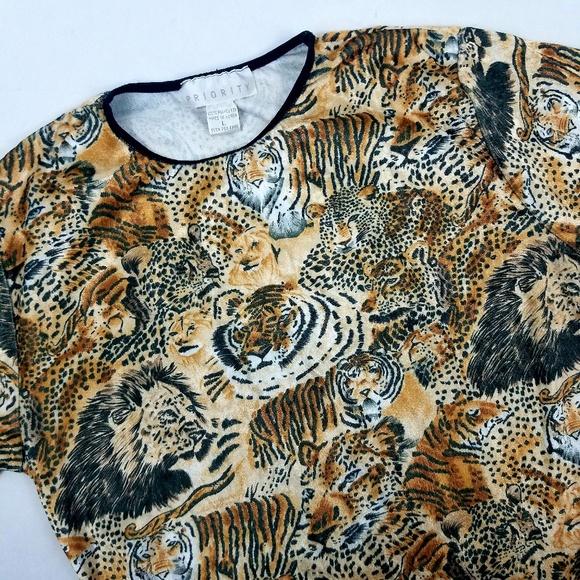d417ca707f6a35 Vintage Tops | Priority Top L Brown Tigers Lion Print | Poshmark